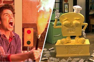 Spencer holding a broom that's on fire next to a toast-shaped sculpture made of butter