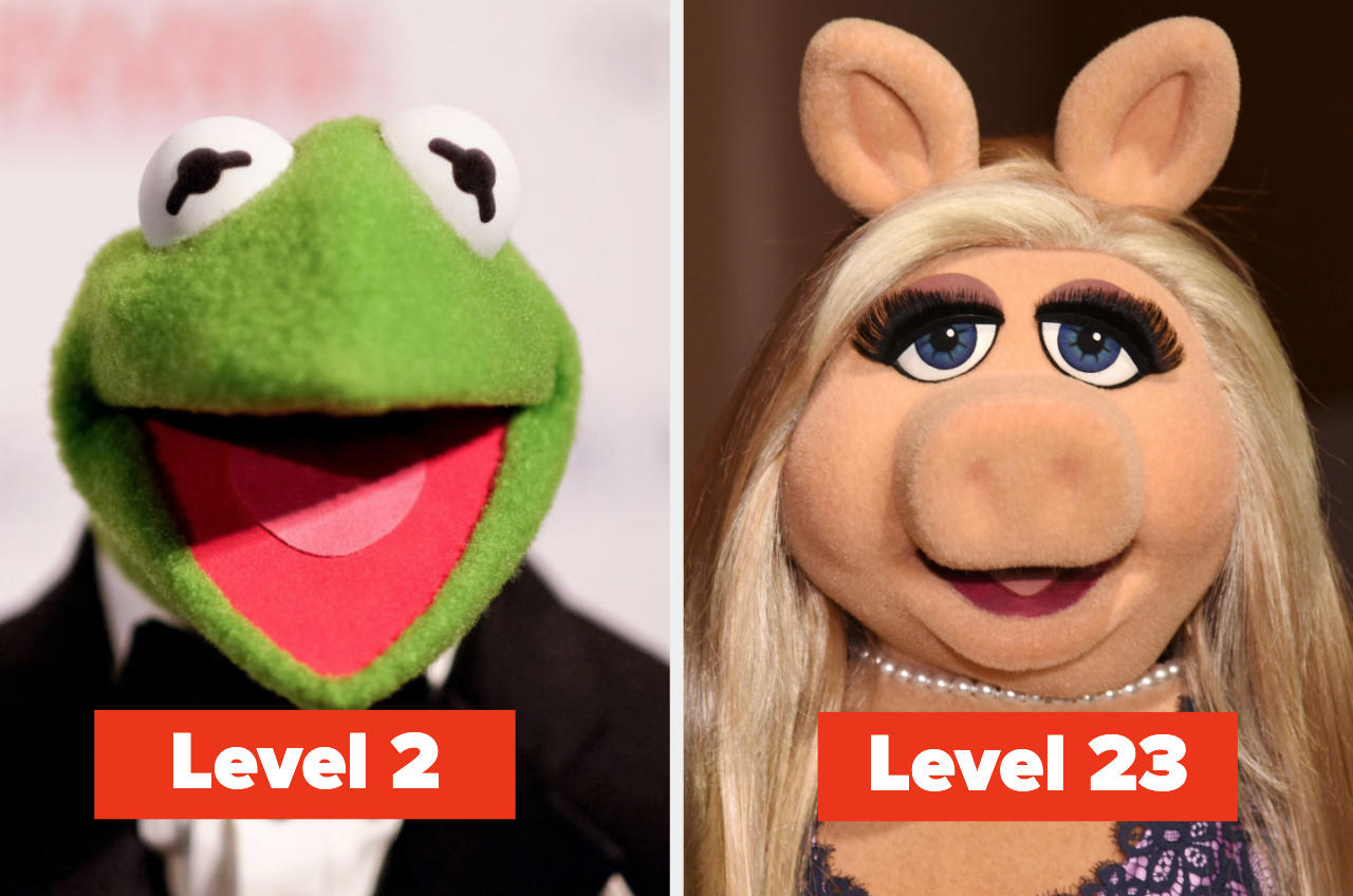 """Kermit the frog with the words """"Level 2"""" and Miss Piggy with the words """"level 23"""""""