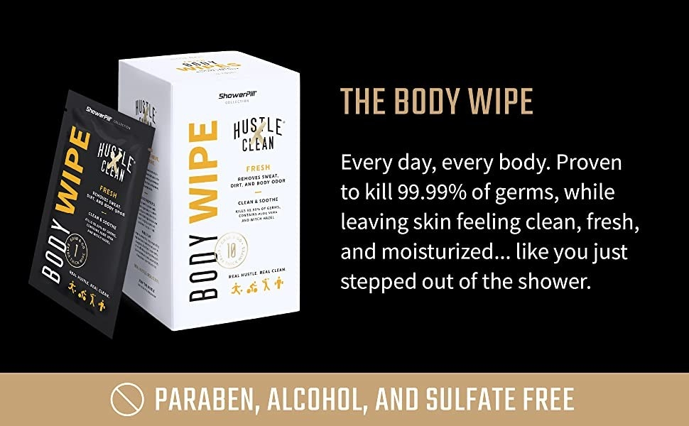 body wipe packaging next to text explaining that the body wipe kills 99.9% of germs