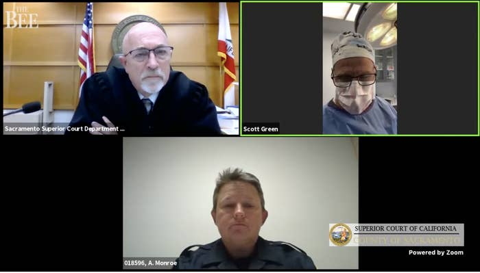 A police officer, court judge, and surgeon wearing a face mask and scrubs all appear in separate windows in a Zoom videoconference call