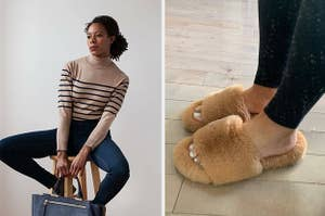 Reviewer in a striped turtleneck and reviewer in fuzzy slide slippers