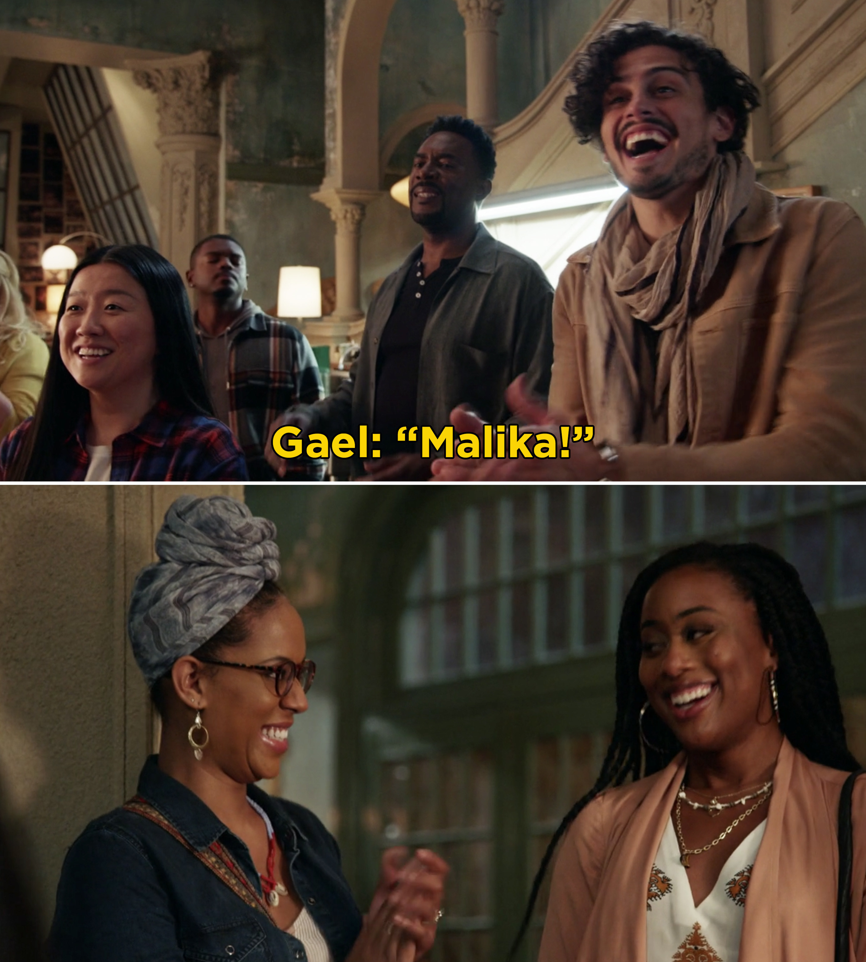 """Gael screaming, """"Malika"""" and smiling after she enters The Coterie"""