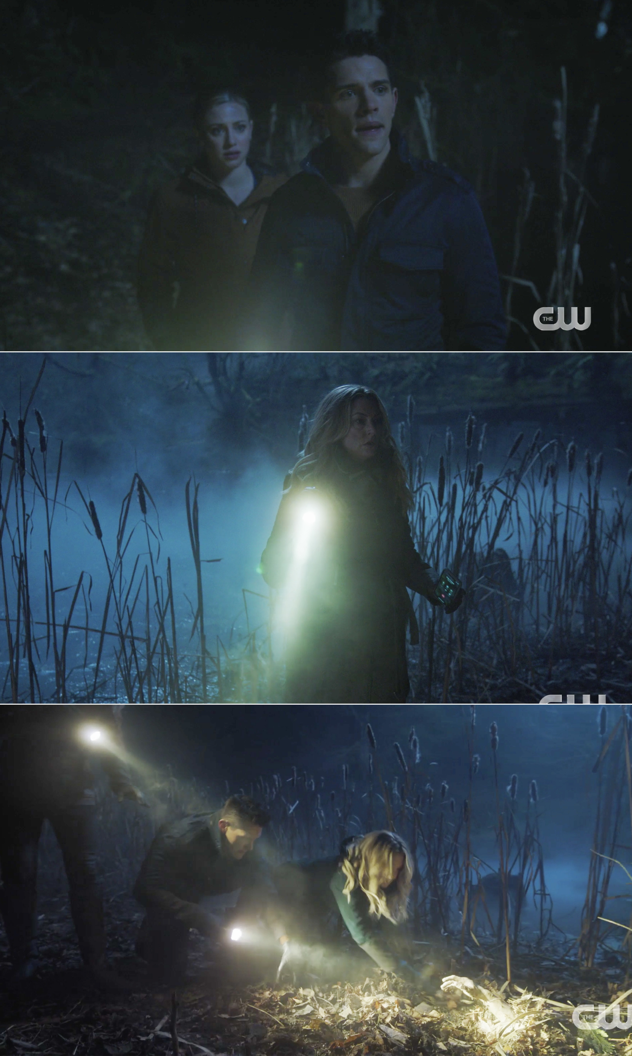Alice, Kevin, and Betty searching a swamp and finding a hand sticking out of the ground