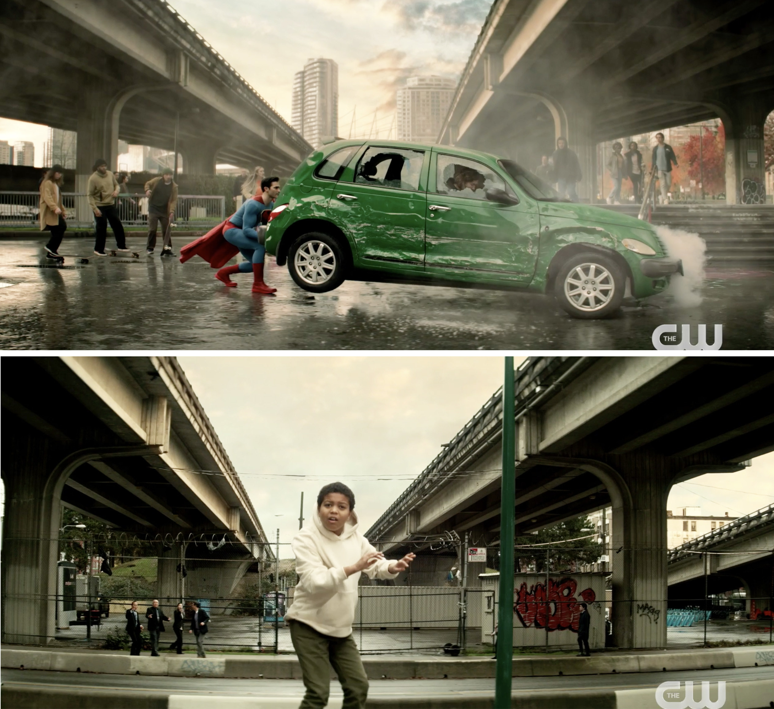 Superman stopping a green car from crushing a child
