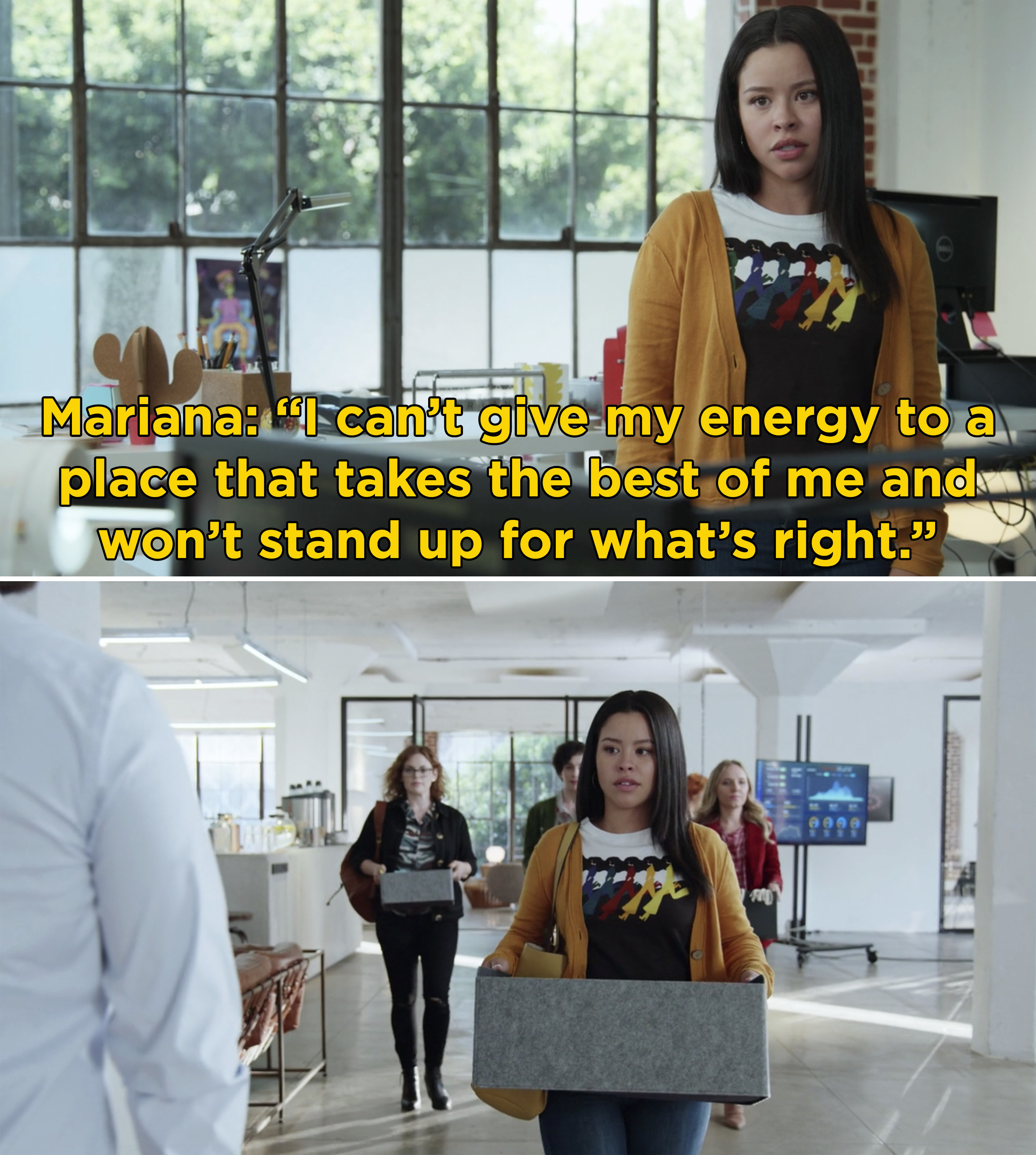 """Mariana saying, """"I can't give my energy to a place that takes the best of me and won't stand up for what's right"""""""