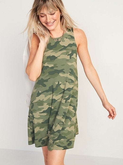 model wearing the camouflage dress