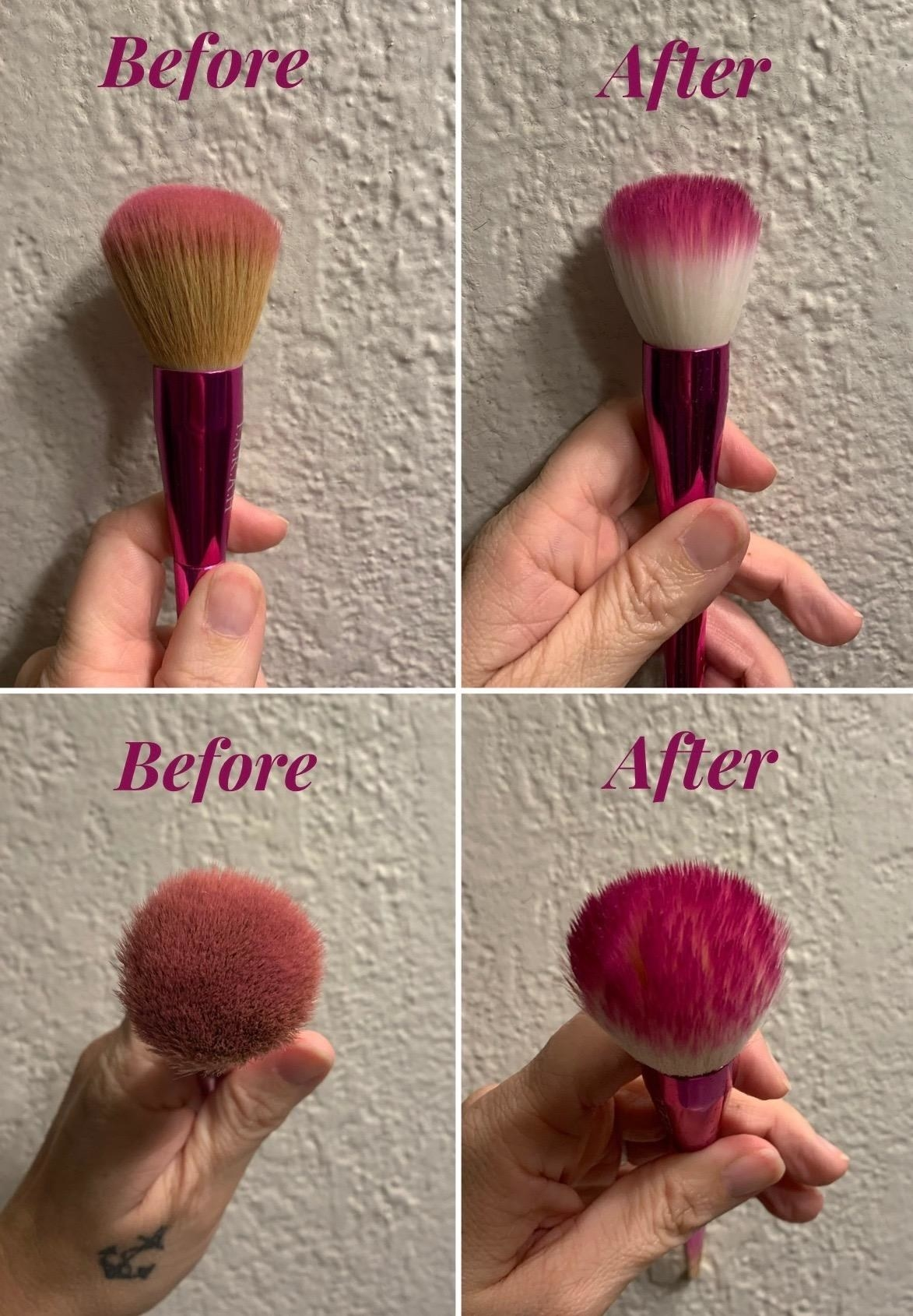 before and after photos of makeup brushes