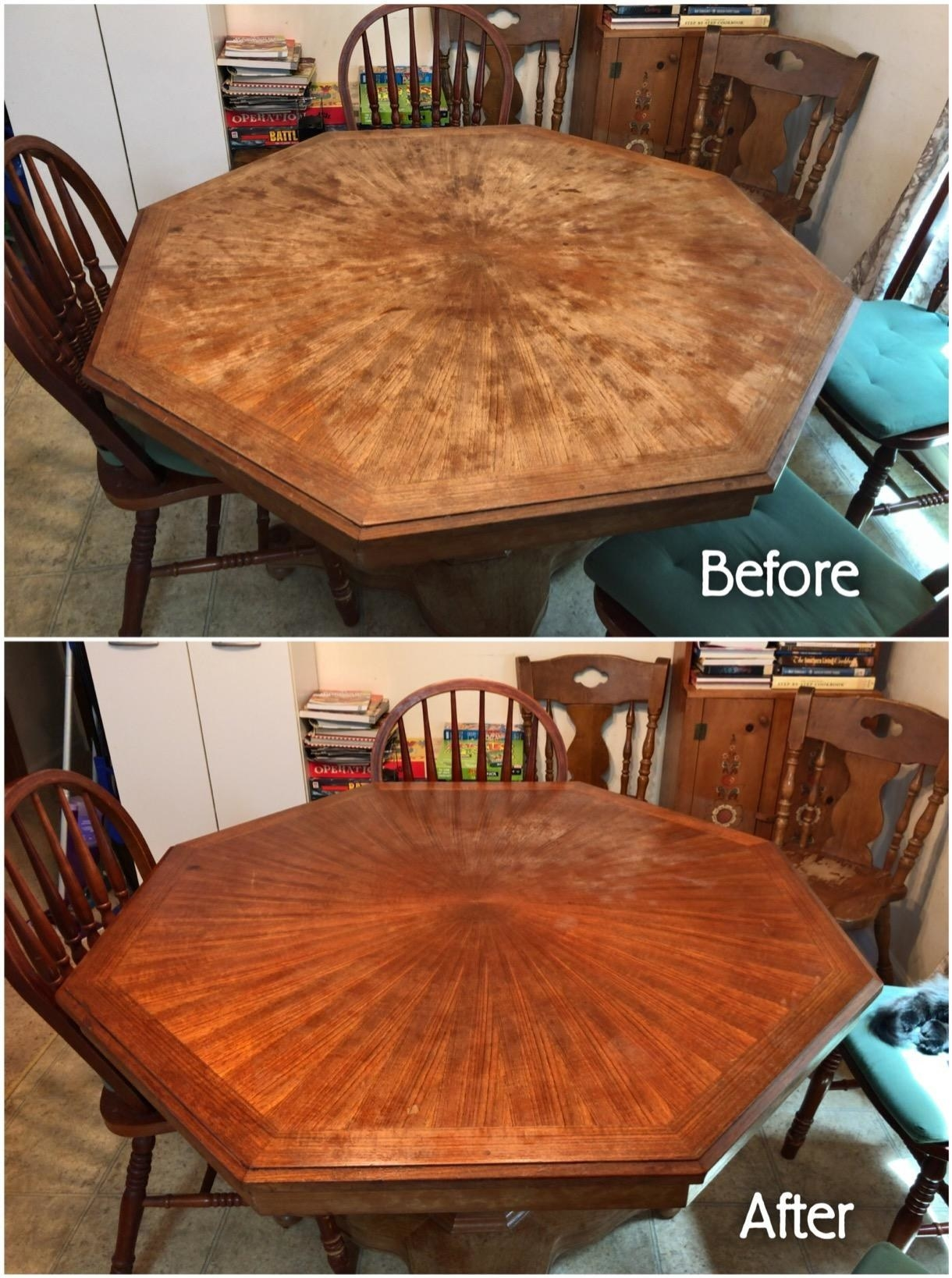 before the wood polish on top showing an ashy table and after the wood polish on the bottom showing a shiny table