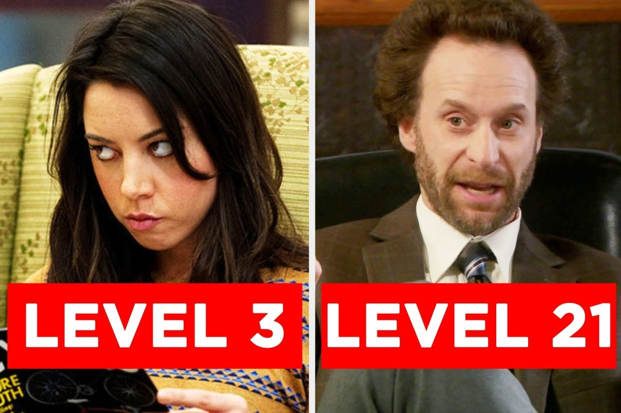 """April with the words """"Level 3"""" and Jeremy with the words """"Level 21"""""""