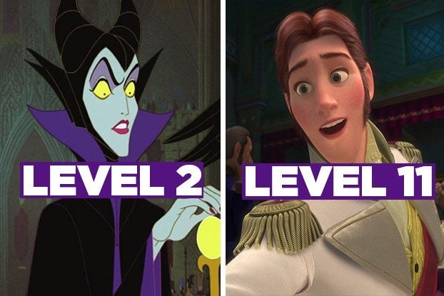 """Maleficent from """"Sleeping Beauty"""" with the words """"Level 2"""" and Hans with the words """"Level 11"""""""