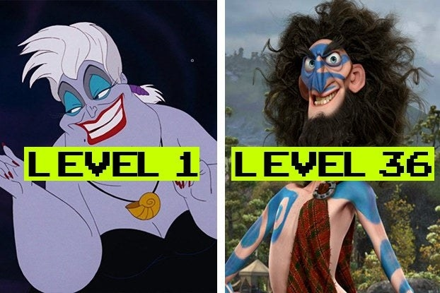 """Ursula with the word """"Level 1"""" and Lord Macintosh with the words """"Level 36"""""""