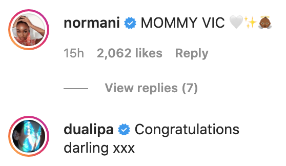 Supportive comments from Normani and Dua Lipa