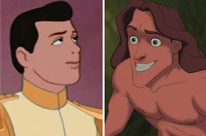Prince Eric is on the left in a suit, facing Tarzan, who is smiling wide