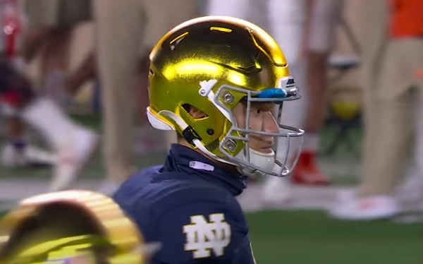 Gold, reflective helmet