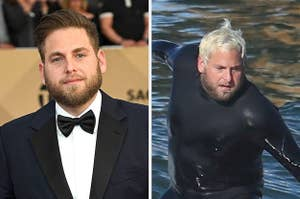 Jonah Hill on the red carpet next to an image of him surfing