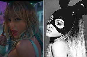 Taylor Swift is on the left under an umbrella with Ariana Grande on the right wearing bunny ears