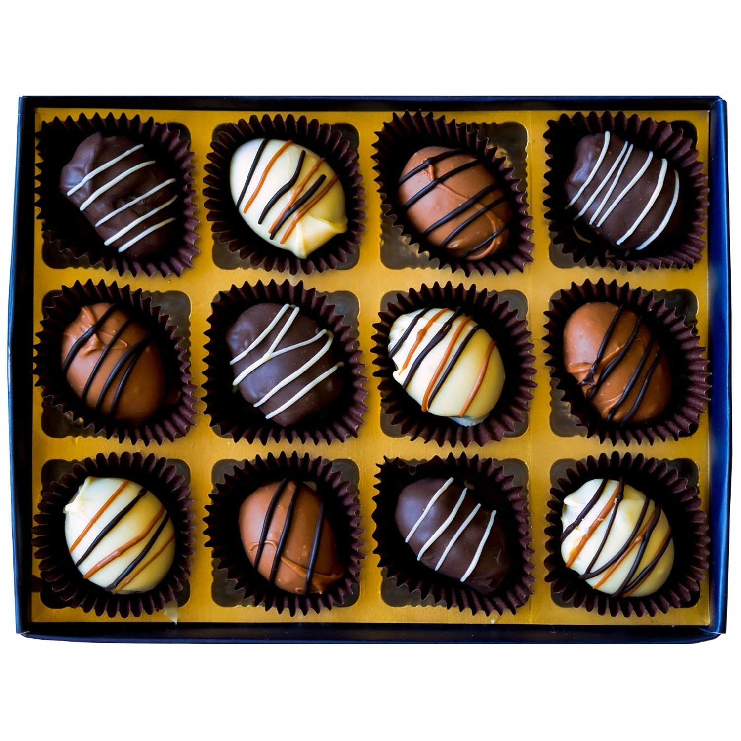 A box of date and almond chocolate truffles