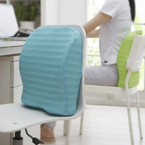 A memory foam back pillow on a chair