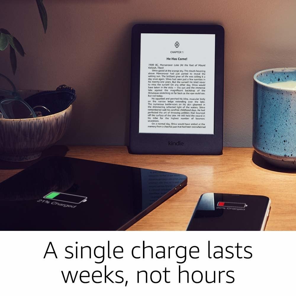 A Kindle on a table