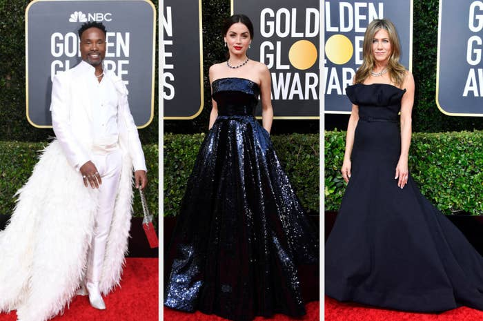 Billy Porter wearing a suit with a feathered tail, Ana de Armas in a metallic sequined strapless dress, Jennifer Aniston in a minimalist strapless dress