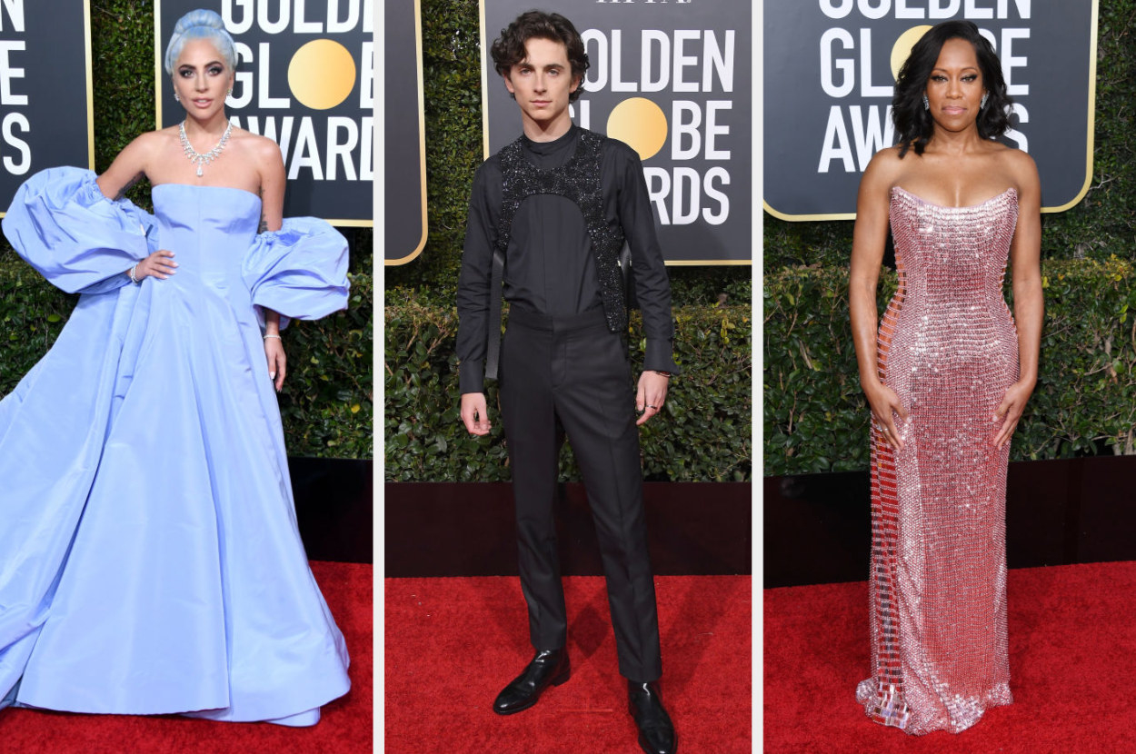 Lady Gaga in a strapless ball gown with matching duster, Timothee Chalamee wearing a dress shirt, slacks and a harness, Regina King wearing a metallic strapless dress and her hair down