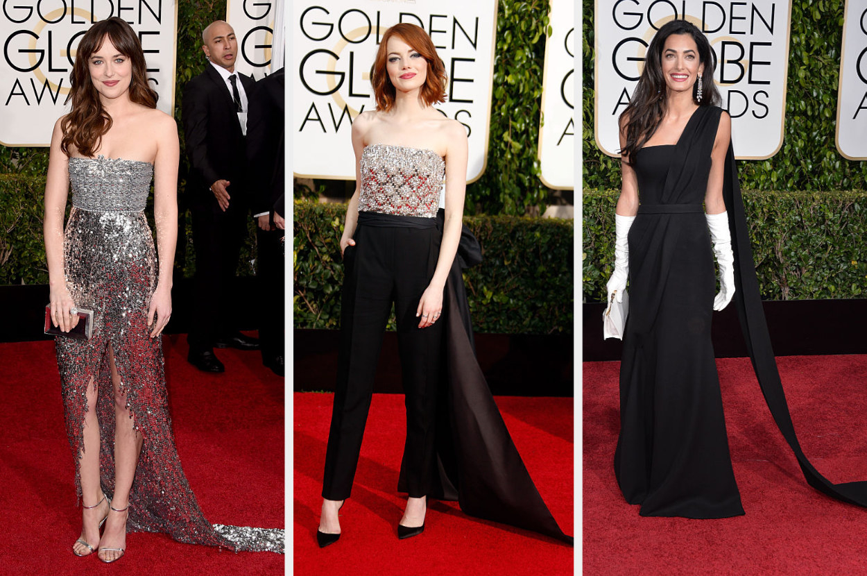 Dakota in a metallic strapless gown, Emma in a strapless jumpsuit with a metallic top and tail, Amal in a Grecian-style one-shoulder dress with gloves and a long sash