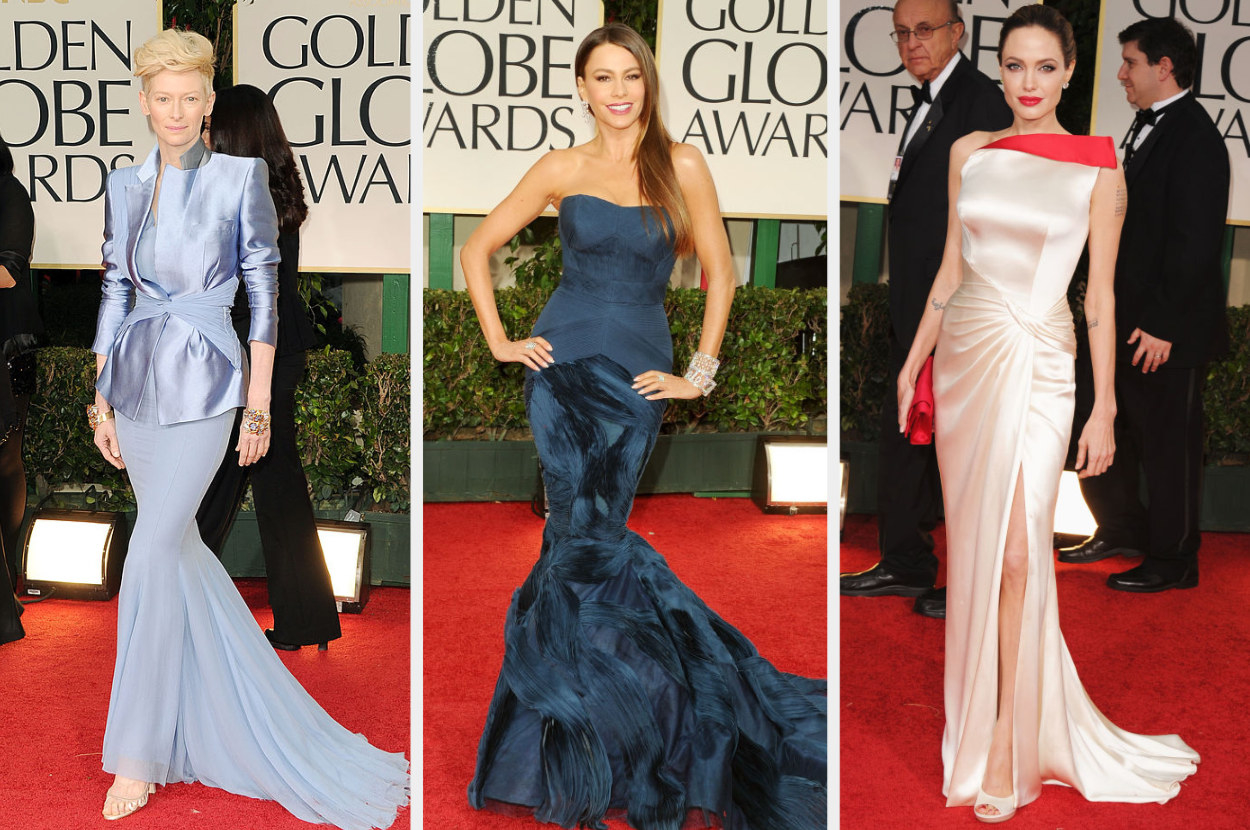 Tilda in a suit dress, Sofia in a strapless mermaid gown, Angelina in a architectural dress with a thigh-high slit