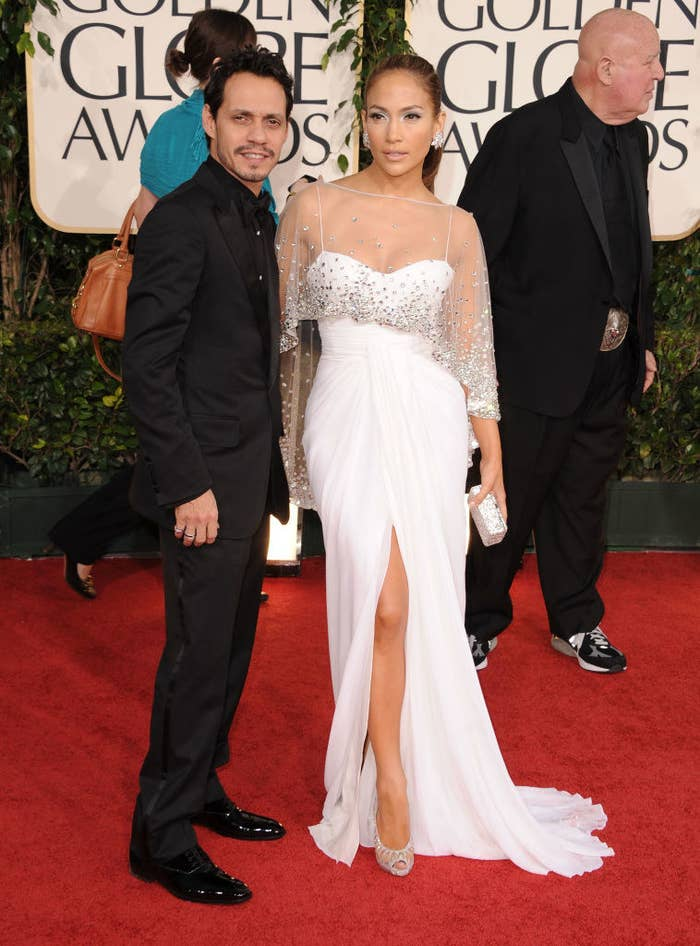 J. Lo and Marc posing on the red carpet