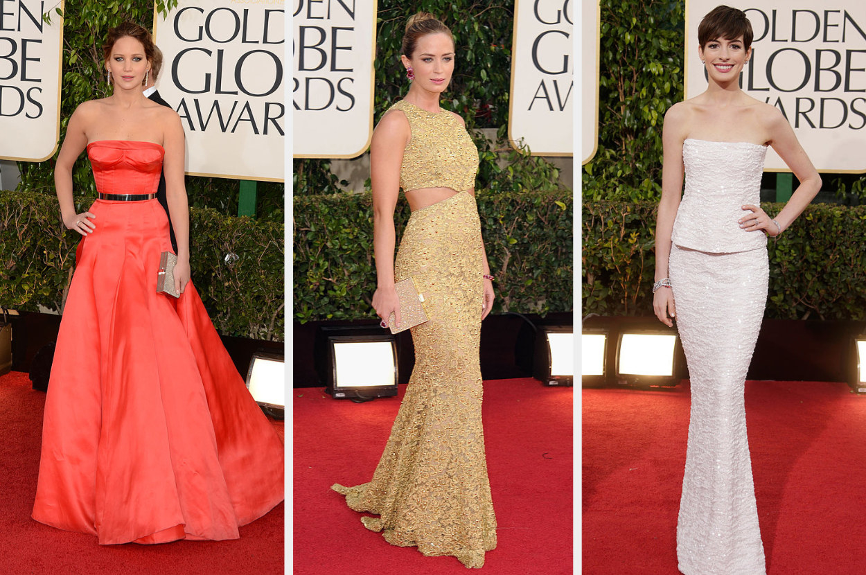 Jennifer in a classic strapless gown with a silver belt, Emily in a sequined gown with cutouts on her midriff, Anne in a simple strapless dress and a pixie cut