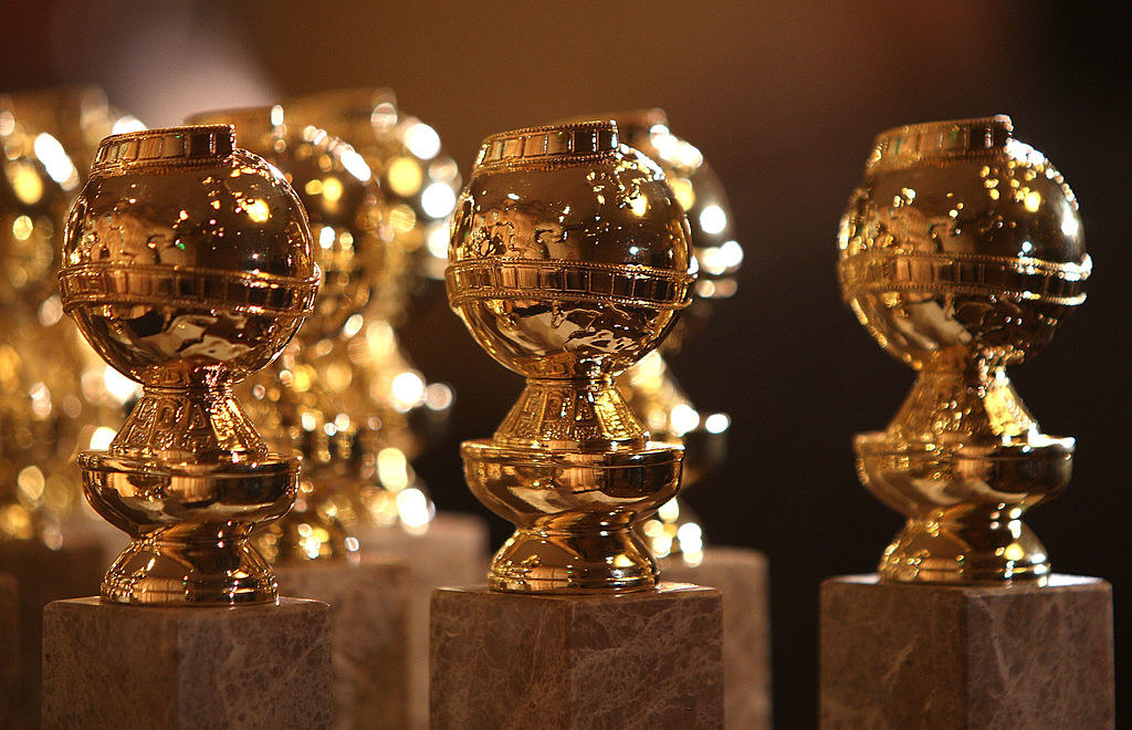 A fancy photo of the shiny Golden Globes trophies