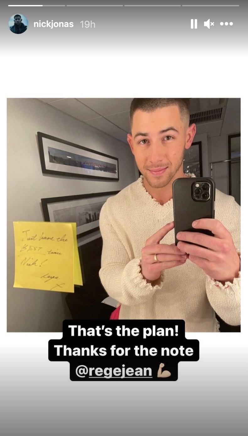 A screenshot of Nick posing with Regé-Jean's note