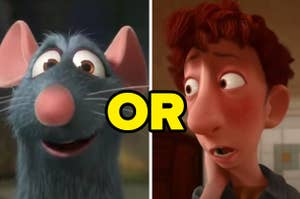 A mouse is on the left with his eyes wide and a man on the right looking concerned, with