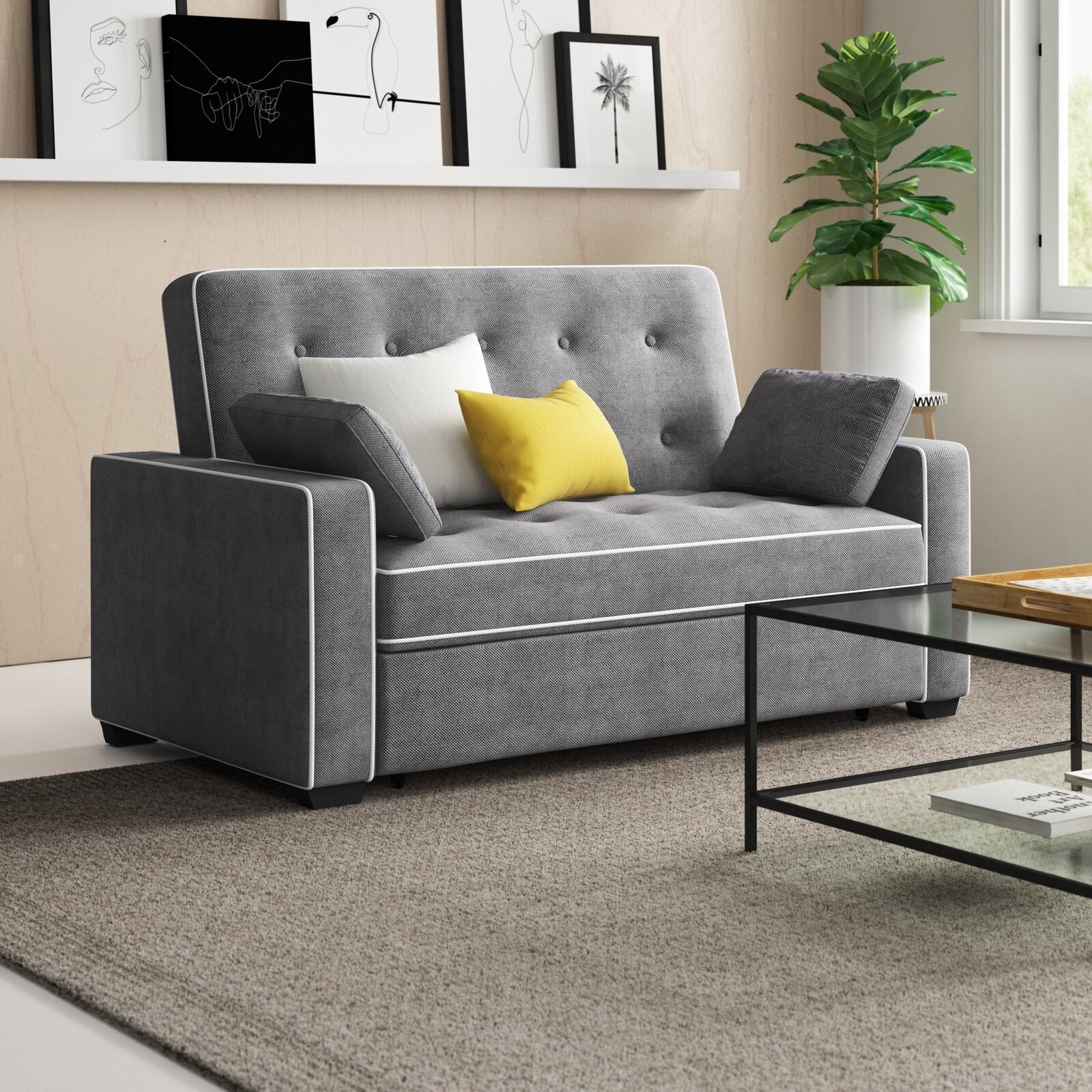 Review photo of the gray microfiber/microsuede futon