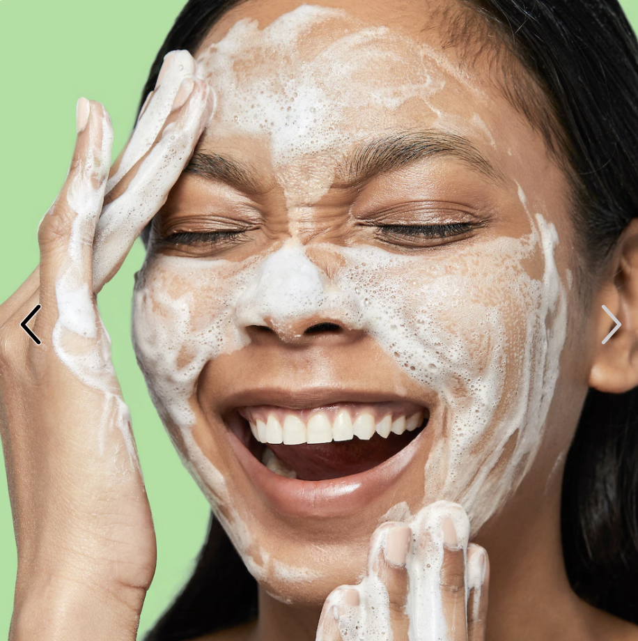 model with foamed up cleanser on face