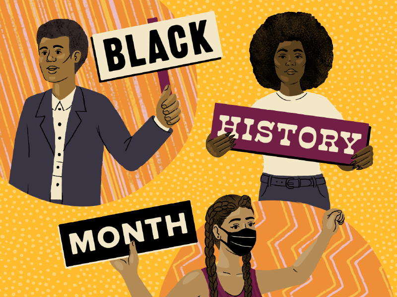 Three people holding signs that together say Black History Month