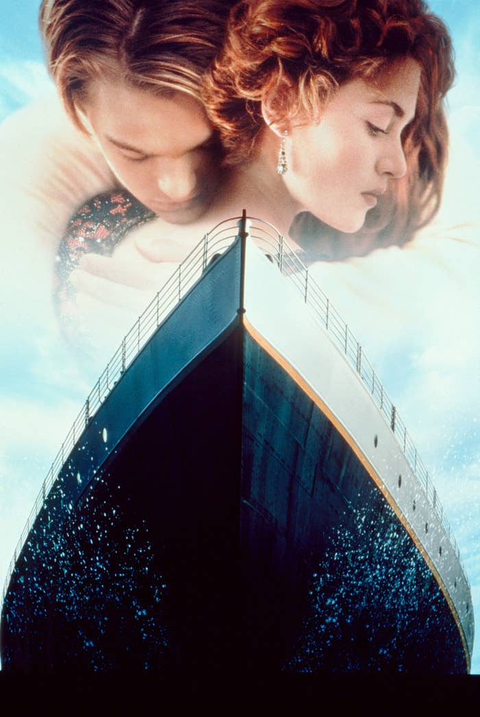 Key art for the film Titanic featuring Leonardo DiCaprio and Kate Winslet