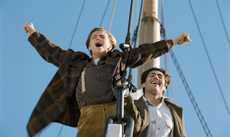 "Leonardo DiCaprio doing his famous ""I'm the king of the world!"" pose alongside Danny Nucci in Titanic"
