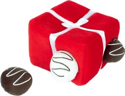 a box of plush chocolates for dogs to play with