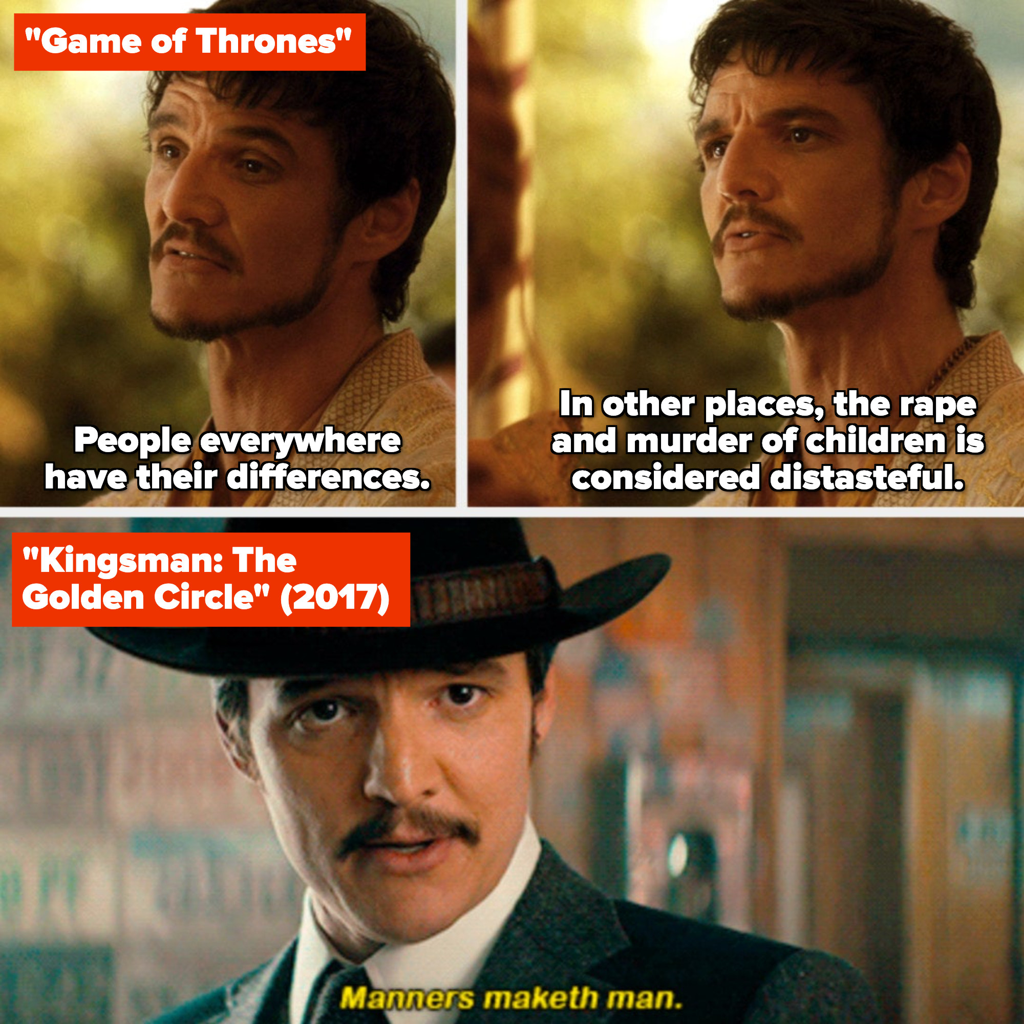 """Pedro Pascal in """"Game of Thrones"""" and """"Kingsman: The Golden Circle"""""""