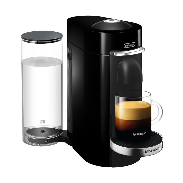 black coffee and espresso machine with a cup of coffee on the bottom