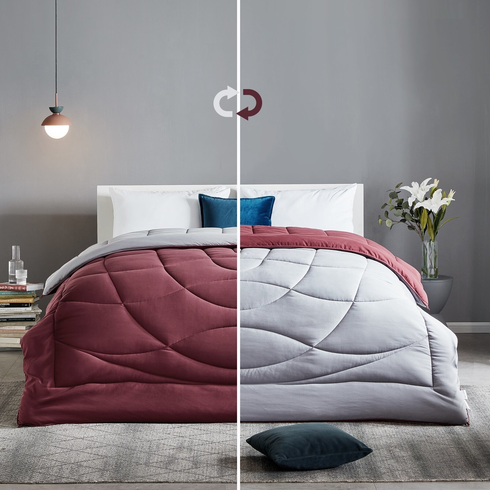 maroon and gray reversible comforter showing both sides