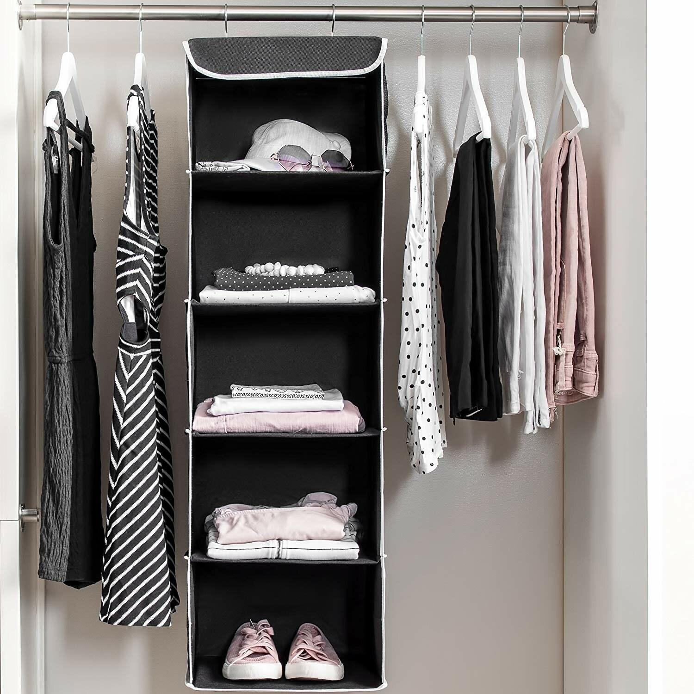 black fabric hanging organizer in a closet