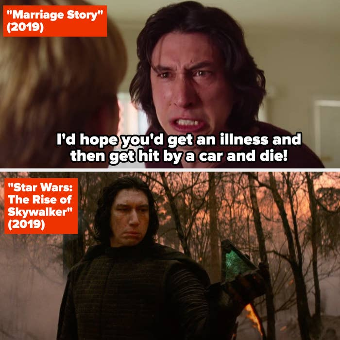 """Adam Driver in """"Marriage Story"""" and """"The Rise of Skywalker"""""""