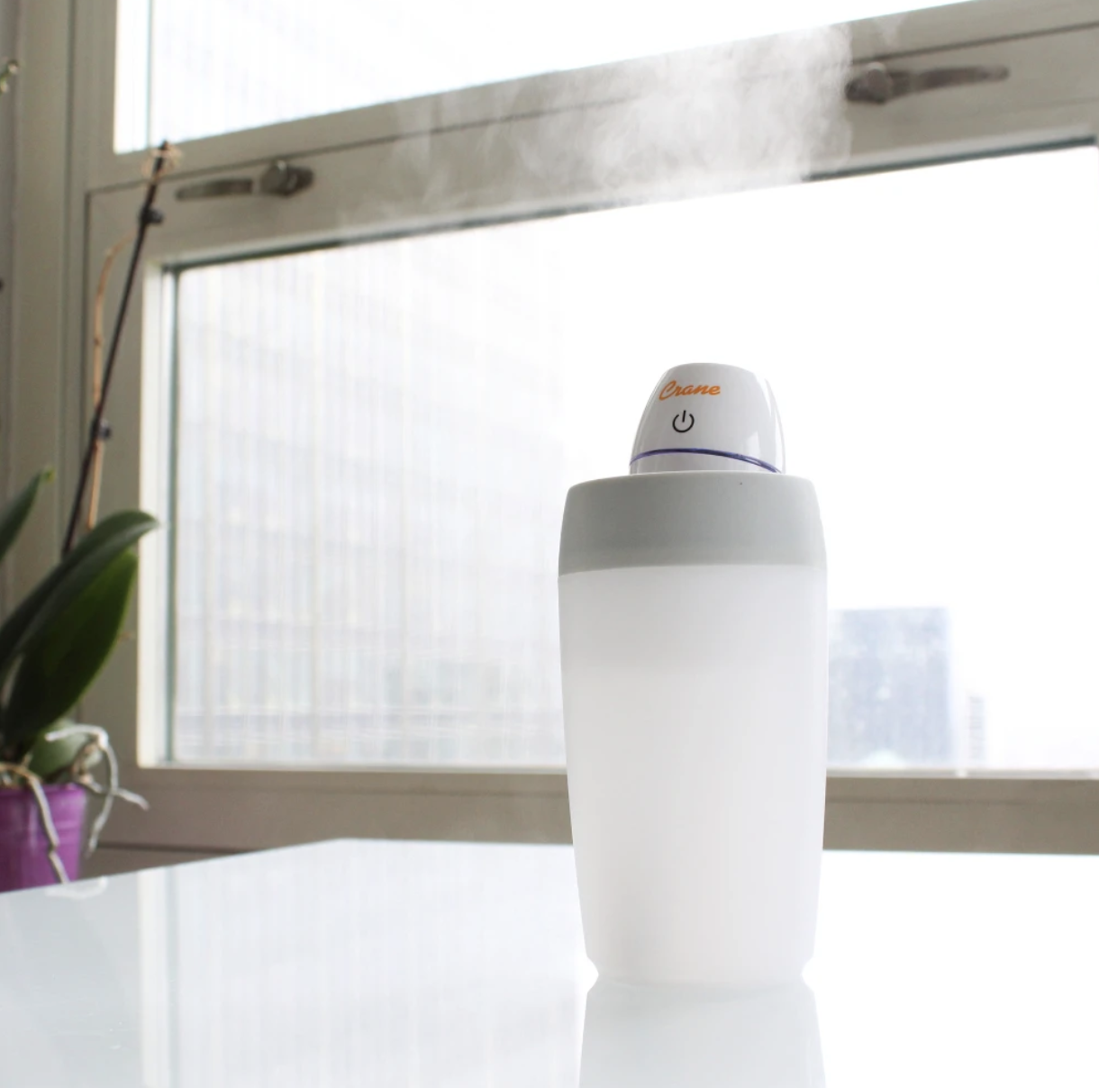 Mini humidifier placed on desk