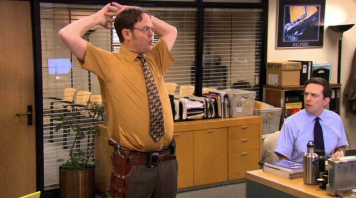 Dwight and Andy both wearing short sleeves
