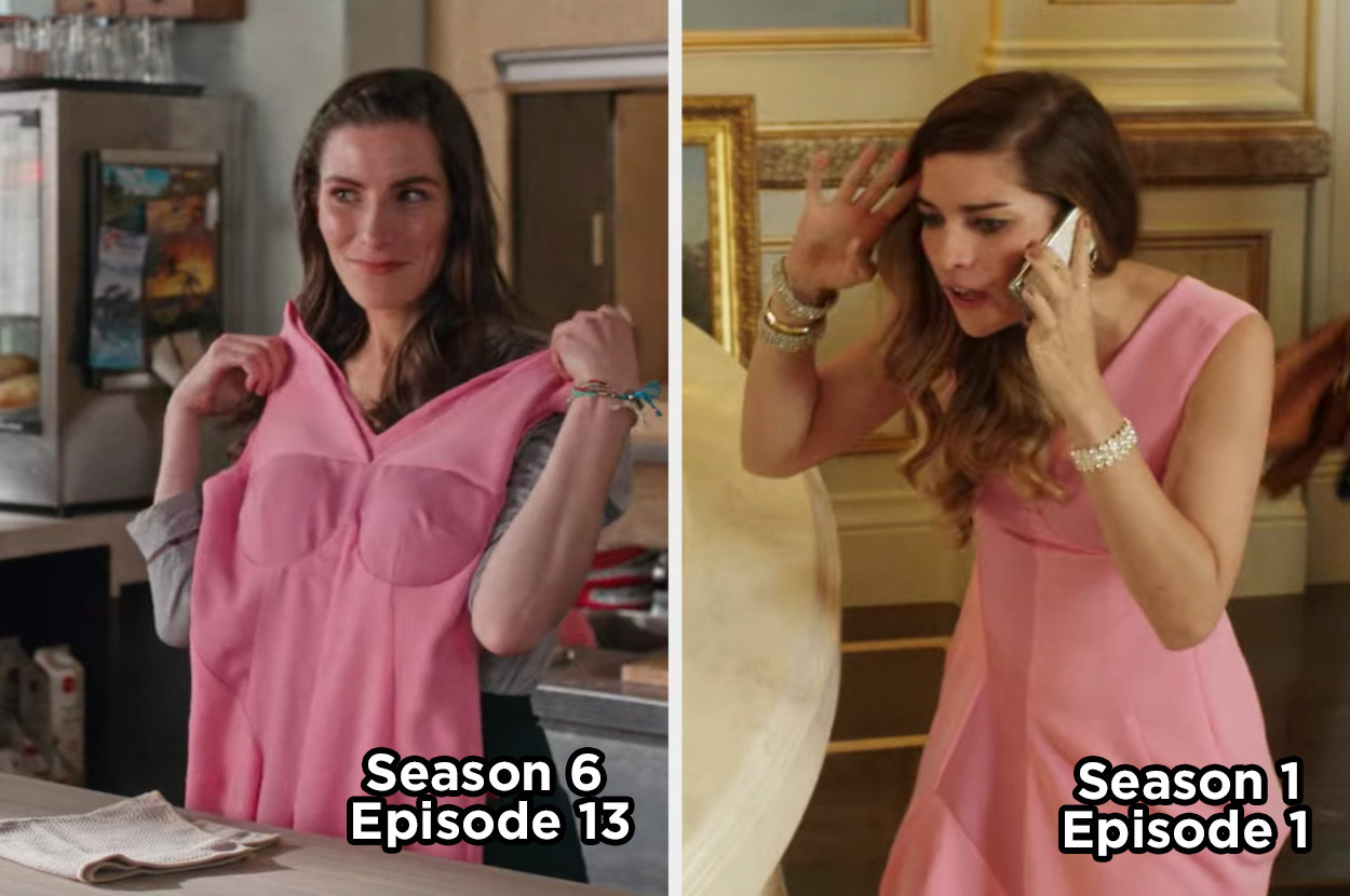 Twyla holding a pink dress and Alexis wearing the same dress in the pilot episode