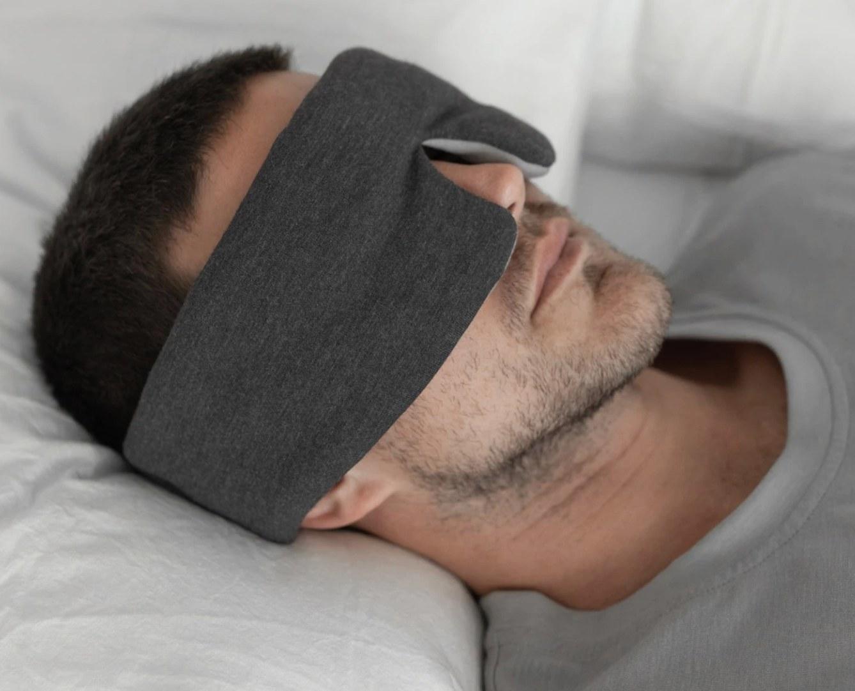 The sleep mask in charcoal/ moonstone