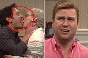 Paul Rudd making out with Kate McKinnon while Taran makes a grossed out face