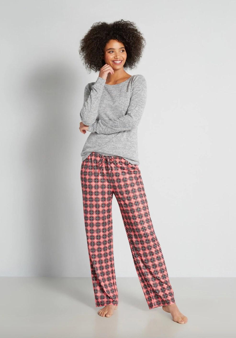 The pair of plaid pajama pants