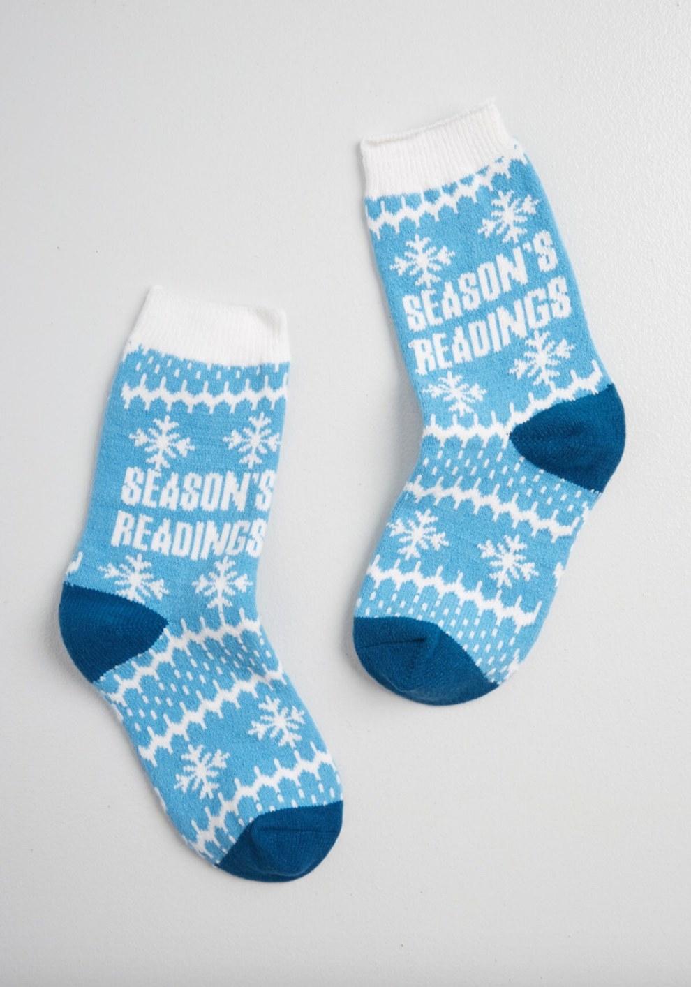 The pair of season's readings socks in blue